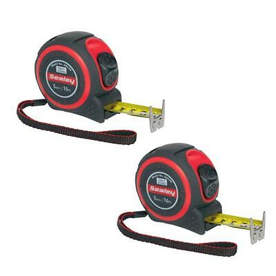 2 x Sealey 5M / 16Ft Class II high accuracy tape measures - trade measuring tape