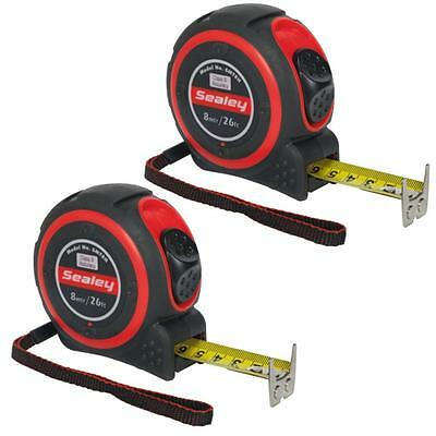 2 x Sealey 8M / 26Ft Class II high accuracy tape measures - trade measuring tape