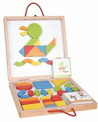 Lelin Wooden 2 in 1 Childrens Magnetic Building Blocks and Cards