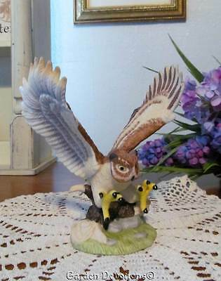 """Beautiful 5"""" GREAT HORNED OWL PORCELAIN FIGURINE Royal Heritage MINT ~ IN BOX"""