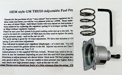 GM TBI ADJUSTABLE regulator kit 1986-95 2 8 4 3 5 0 5 7L BBC 7 4L 10-25psi