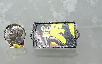 Dollhouse Miniature Black Wood Tray with Owl & Cat Picture Base HALLOWEEN