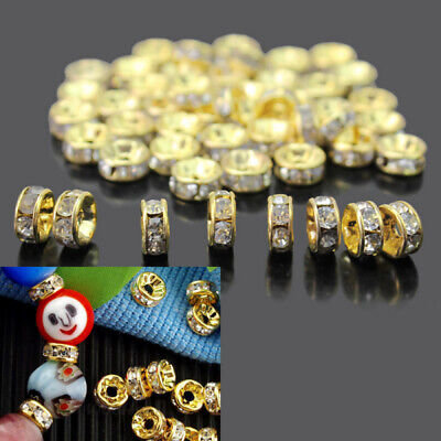 50X 6mm Bling Crystal Rhinestones Spacers Beads Golden Tone For Jewelry Making