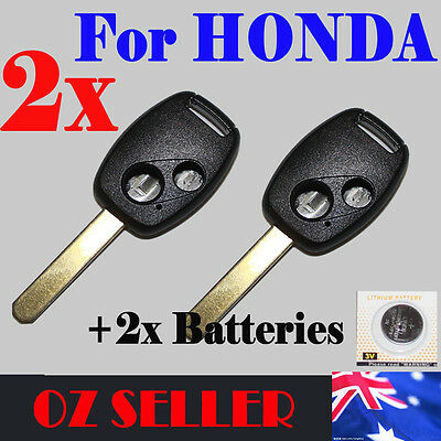 2x KEY CASE SHELL 2 Button Remote For HONDA ACCORD CIVIC JAZZ UNCUT BLADE