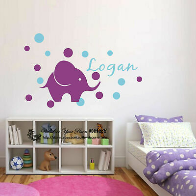 Custom Personalised Name Elephant Dots Wall Art Stickers Kids Nursery Baby Decor