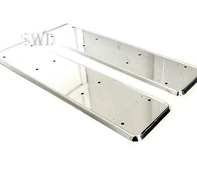2 Chrome Finish License Number Plate Frames Holders Surrounds Edge Trim Backing