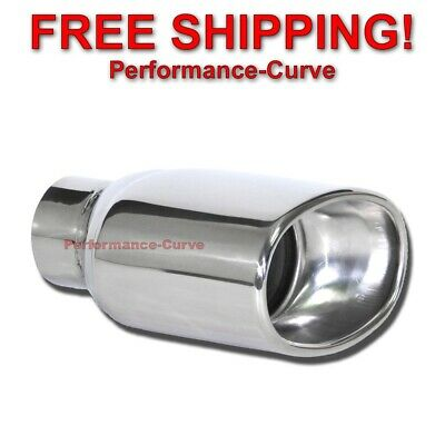 """Stainless Steel Exhaust Tip DW Oval Resonated 2.5"""" In - 5.5"""" x 3.5"""" Out"""