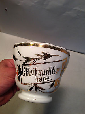 *1892* KPM Weihnachten Gold Porcelain Hallowed Nights Germany Christmas Cup Mug