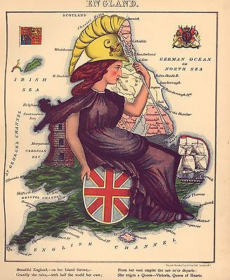 English Map British England Antique Old Colour Map from Fun Atlas Poster Picture