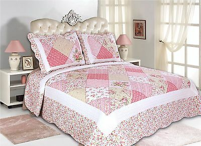 39-All For You 3PC quilt set, bedspread,coverlet-patchwork prints-4 sizes