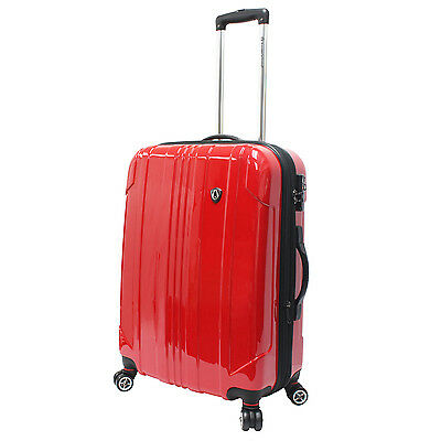 """Traveler's Choice 25"""" Red Sedona Pure Polycarbonate Lightweight Spinner Luggage"""