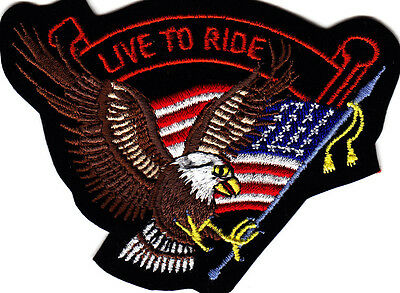 """""""LIVE TO RIDE"""" IRON ON PATCH , AMERICAN EAGLE & FLAG/Biker Vest Patch,Patriotic"""