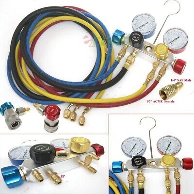 R410a R134a R12 R22 4 Way Valve Manifold Gauge + 4 Hoses Quick Adapter HVAC Kit