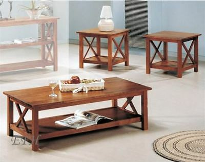 NEW 3PC MODERN BROWN FINISH WOOD COFFEE END TABLE SET
