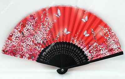 Chinese Bamboo Folding Silk Orient Red Handmade Butterfly Pattern with FlowerFan