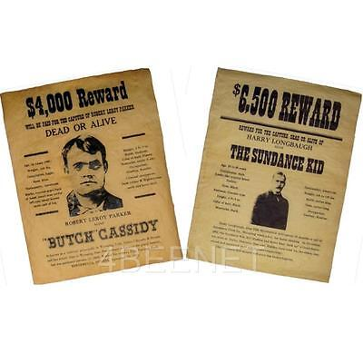 2 WESTERN WANTED POSTERS - replicas - Butch Cassidy & The Sundance Kid