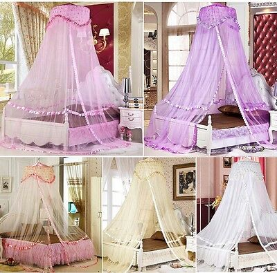 Luxury Bed Dome Canopy Princess Round Mosquito Net Single Double King Size