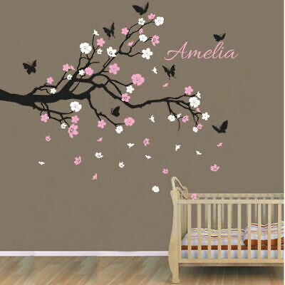 Custom Personalised Name Birds Butterfly Branch Wall Sticker Decal Nursery Decor