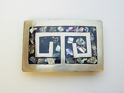 Vintage Mexico Alpaca Silver Abalone Shell Inlay Rectangular Belt Buckle Mexican