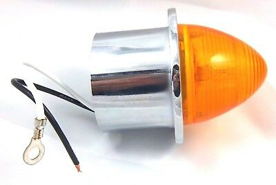 Mud Flap hanger end light 2 inch ID Amber lens with sealed beehive incandescent