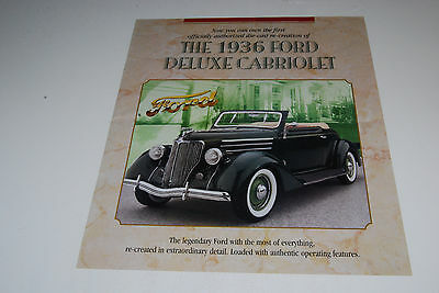 Franklin Mint - 1936 Ford Deluxe Cabriolet -- BROCHURE ONLY -- NO CAR -- DM