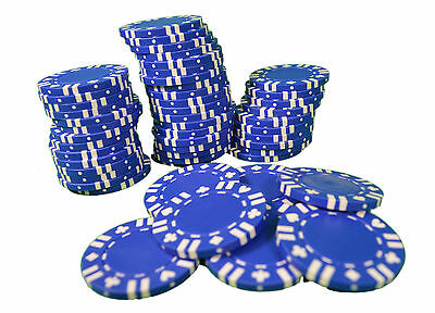 Poker Chips Lot of 50 Blue With Card Suit Las Vegas Casino 11.5g Heavy Duty