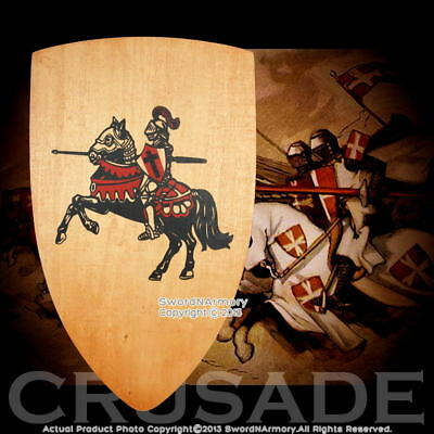 "25""  Wooden Medieval Times Knights Shield Plywood Design with Grip"