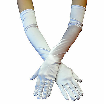 USA White Women Evening Party Wedding Opera Finger Elbow Long Satin Gloves Hot!