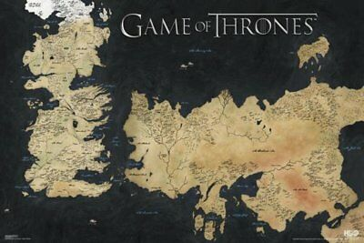 Game of Thrones Map of Westeros 7 Kingdoms TV Poster Art Print 24x36 inch - Huge