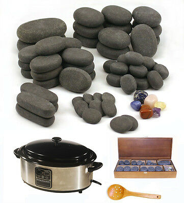 HOT STONE MASSAGE KIT: 64 Basalt/Chakra Stones + 6.5 Quart Digital Heater