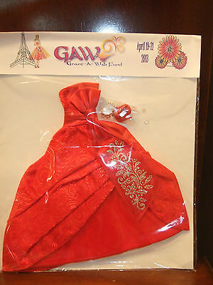 Grant-A-Wish BARBIE CONVENTION mint in package RED SATIN GOWN, SHOES, AND CROWN