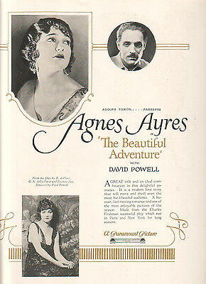Agnes Ayres David Powell 1922 Ad- The Beautiful Adventure/Paramount