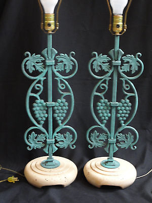PAIR of LARGE 70s CAST IRON GRAPEVINE ON CAST STONE BASE TABLE LAMP