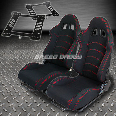 Pair Type-1 Reclining Black Cloth Racing Seat+Bracket For 93-98 Golf/gti Mk3