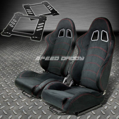 Pair Type-1 Reclining Black Suede Racing Seat+Bracket For 92-99 Bmw E36 2-Dr
