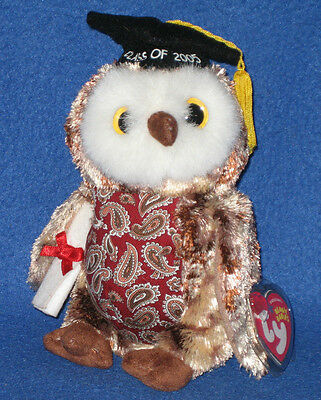 TY SMARTY the GRADUATION OWL BEANIE BABY - MINT with MINT TAG