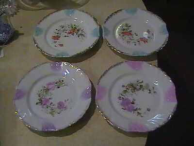 4 KPM Krister Porcelain Manufactory Floral Salad Plates With Gold Germany 7 1/2""