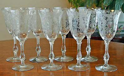 ROSE POINT 3121 WATER GOBLET CAMBRIDGE ETCHED CRYSTAL STEMWARE ~ SET OF 8