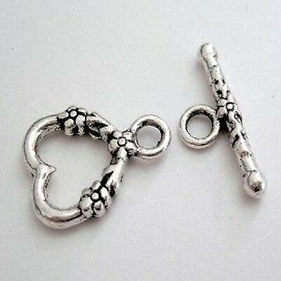 10 x Tibetan patterned detail Silver Heart Toggles Clasps - A6416