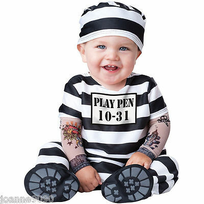 Boys Girls Baby Toddler  Time Out Prisoner Convict Babygrow Fancy Dress Costume