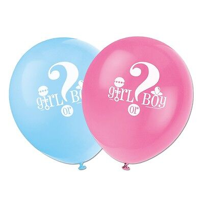 """8 Boy Or Girl Baby Shower Gender Reveal Party 12"""" Printed Latex Balloons"""
