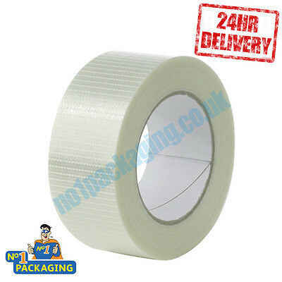 6 Rolls SUPER STRONG Crossweave 50mm x 50m Reinforced Glass Filament Parcel Tape