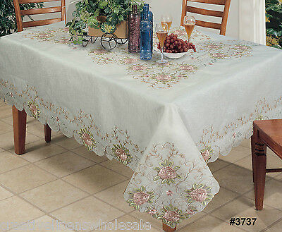 """Embroidered Pink Rose Floral Cutwork Sheer Tablecloth 70x120"""" & 12 Napkins 3737W"""