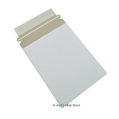 "50 - 6 x 8 White Stay Flat Rigid Photo Document Cardboard Mailer Envelope 6""x8"""