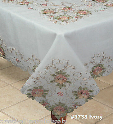 """Embroidered Peach Floral Sheer Tablecloth 70x90"""" & 8 Napkins Ivory #3738W"""