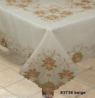 """Embroidered Peach Floral Sheer Tablecloth 70x90"""" & 8 Napkins BEIGE #3738E"""