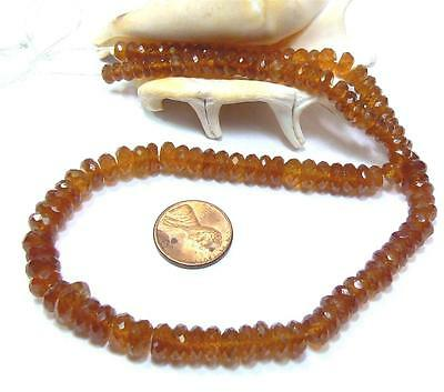 "RARE NATURAL MANDARIN SPESSARTITE GARNET FACETED BEADS 6-10mm 16"" STRAND 220ctw"
