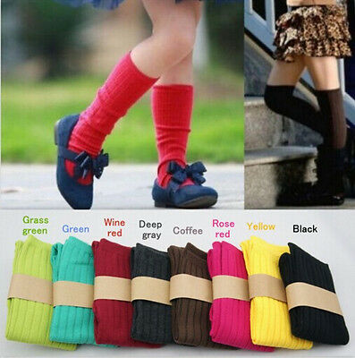 Kids Baby Child Girl Soft Knee High Multicolor Cotton Socks 1-8Y Tights Stocking