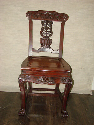 ANTIQUE HAND CARVED ROSEWOOD GRIFFIN CHAIR LION FOOT ROBUST (b)