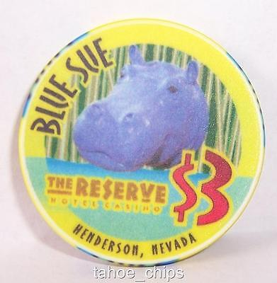 The Reserve Casino Chips Blue Sue Hippo Congo Jack $3 Chip Henderson Nevada